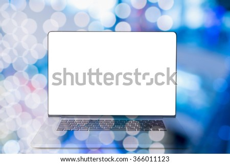 computer with blank white screen double exposure with colorful background