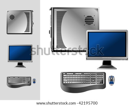 Computer with case, keyboard, mouse and monitor.