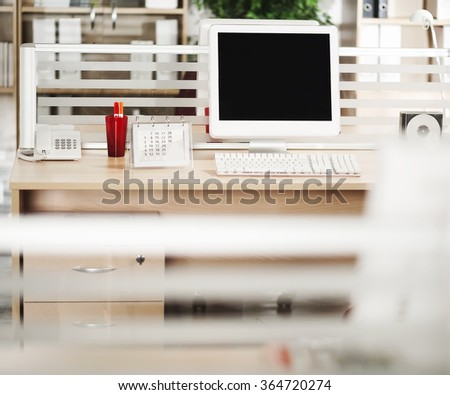 Computer with LCD screens in office - stock photo