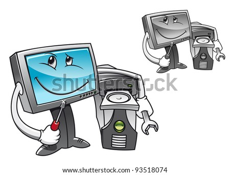 Computer with tools for repair service concept, such a logo. Vector version also available in gallery - stock photo