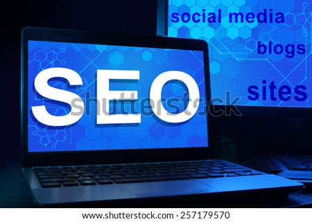 Computer with words SEO Search Engine Optimization.   - stock photo