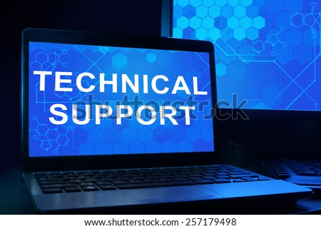 Computer with words technical support. Internet technology concept. - stock photo