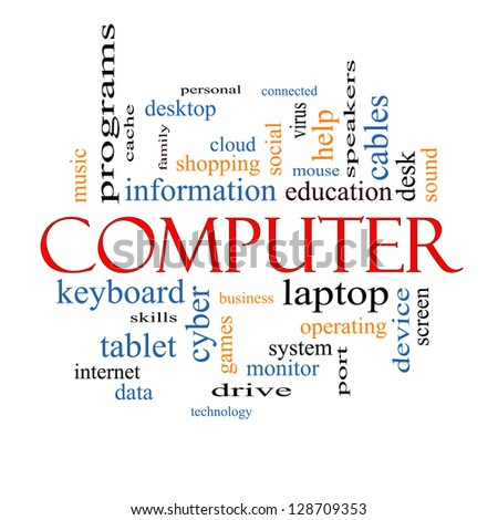 Computer Word Cloud Concept with great terms such as laptop, tablet, social, cloud and more.