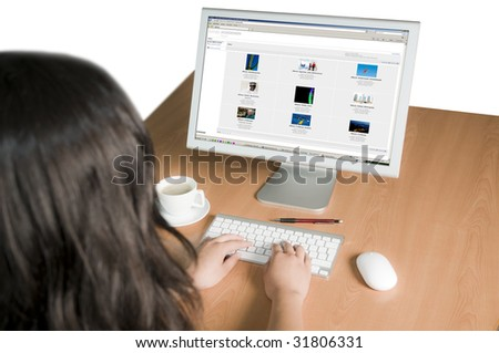 computer workplace - stock photo