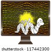 Computer worms detected. Internet and software security concept - stock photo
