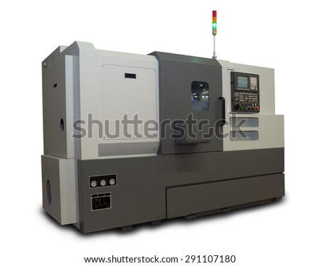 Computerized CNC Gray Lathe isolated on white background  - stock photo