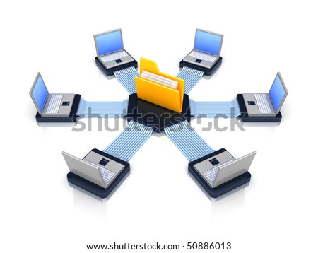 computers connected to a folder