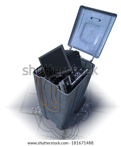 computers in a trash bin on a white background - stock photo
