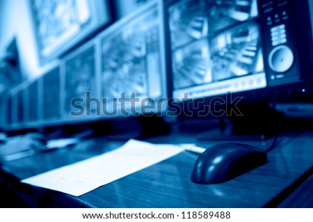 Computers in the computer laboratories or study room - stock photo