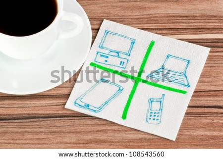 Computers on a napkin and cup of coffee - stock photo
