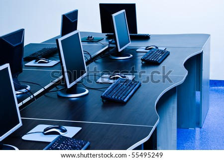 computers with LCD screens in IT office