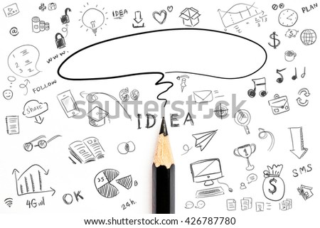 Computing concept with doodle skeches infographics icons. Hand drawn icons of maths, graphs, notes, pencils, mail, and so on.Business Idea doodles icons set - stock photo