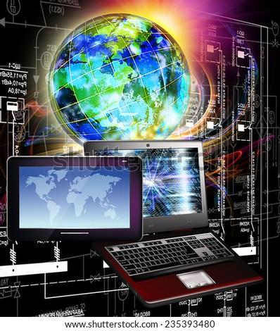 Computing technology.Communication - stock photo