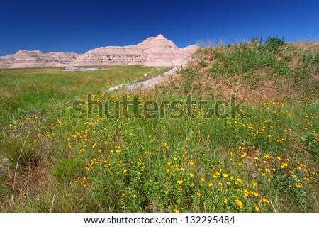 Conata Basin of Badlands National Park in South Dakota - stock photo