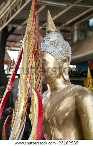 Conceal one's face of buddha statue - stock photo