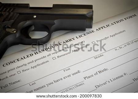 Concealed Handgun Permit Application - stock photo
