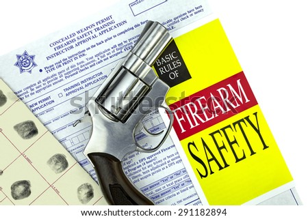 Concealed Weapon Permit Application with Gun - stock photo