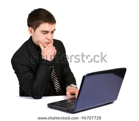 conceived businessman with laptop on desk on white background