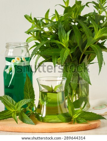 Concentrate mint syrup and fresh drink - stock photo
