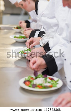 Concentrated Chef's team garnishing salads in the kitchen - stock photo