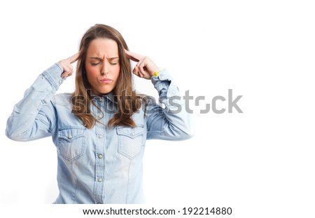 concentrated young girl. isolated - stock photo