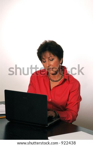 concentration at laptop soft focus model released 2062 laura magrone
