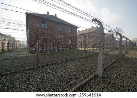 Concentration camp Auschwitz II a former Nazi extermination camp in Oswiecim. Auschwitz II was the biggest nazi concentration camp in Europe. - stock photo