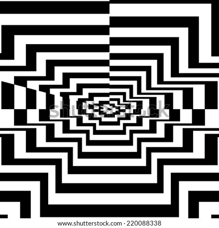 Concentric oncoming abstract symbol, polygon - optical, visual illusion - stock photo