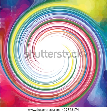 Concentric, spirally lines with spectrum colors. Twisting, rotating lines in multicolor fashion. - stock photo