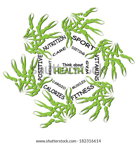 Concep abstract circle health word cloud of green leaf child hand prints on white background metaphor to health, nutrition, diet, wellness, body, energy, fitness, gym, medicine, sport, heart, science - stock photo