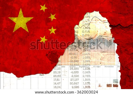 Concept a problem in the Chinese economy. - stock photo