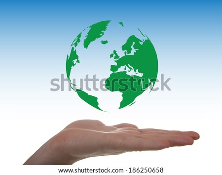 Concept about environment through a globe in levitation on a hand