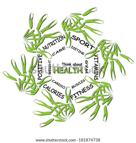 Concept abstract circle health word cloud of green leaf child hand prints on white background metaphor to health, nutrition, diet, wellness, body, energy, fitness, gym, medicine, sport, heart, science - stock photo