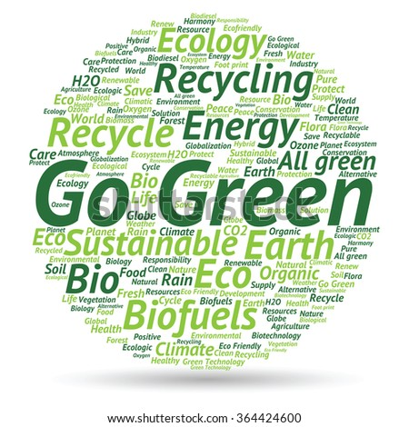 Concept abstract green ecology or energy and conservation word cloud text isolated on white background metaphor to environment, recycle, earth, alternative, protection, energy, eco friendly or bio
