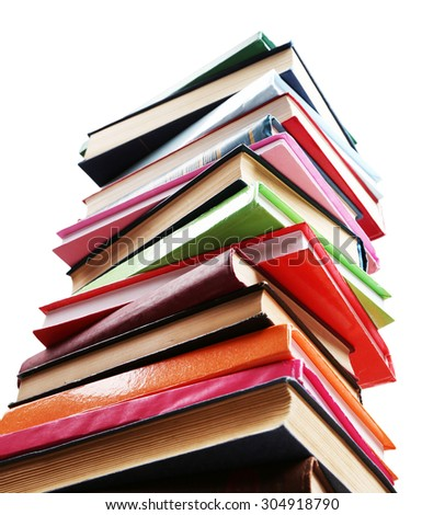 Concept accumulation of knowledge isolated on white - stock photo