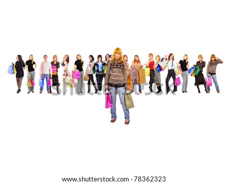Concept Among the Crowd Shopping - stock photo