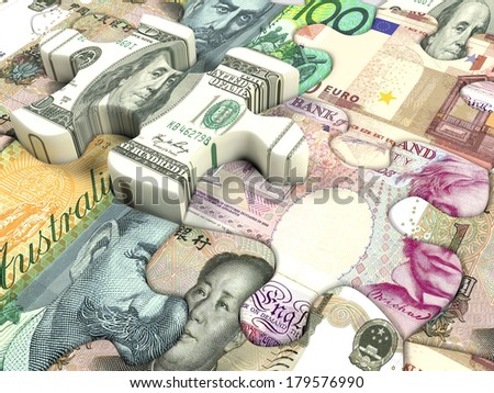 Concept background for exchange rate of world currency  - stock photo