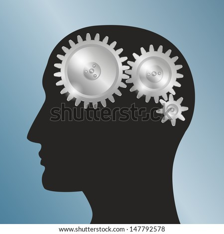 Concept background with schematic representation of the human head with gears. Raster version of the loaded vector. - stock photo