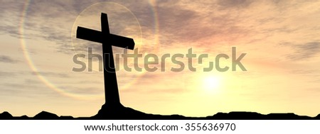 Concept black cross religion symbol silhouette in rock landscape over a sunset sunrise sky with clouds for God, Christ, Christianity, lige, religious, faith, holy, spiritual, Jesus belief resurection