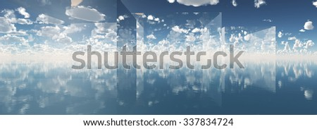 concept blue fantasy cloudy sky 3d illustration