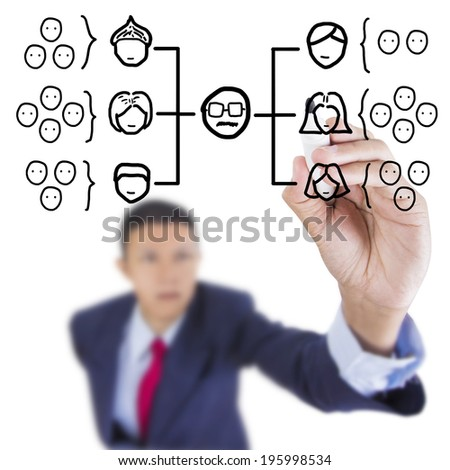 Concept business draw diagram chart organization ranking above whiteboard white background - stock photo