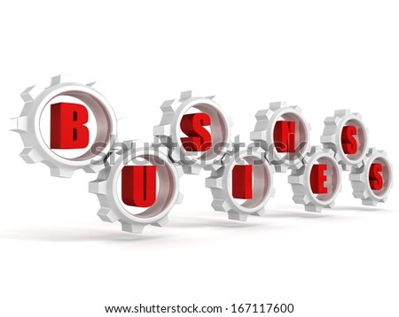 concept business red text letters in connected work gears - stock photo