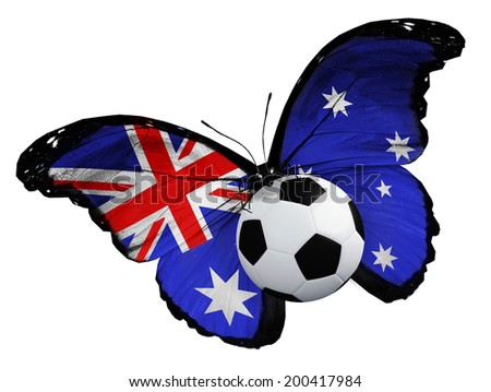 Concept - butterfly with Australian flag flying near the ball, like football team playing   - stock photo