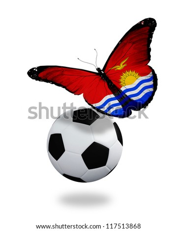 Concept - butterfly with Kiribati flag flying near the ball, like football team playing - stock photo