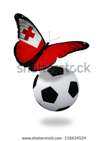 Concept - butterfly with Tonga flag flying near the ball, like football team playing - stock photo
