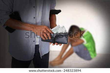 Concept Buying sexually abuse boy. - stock photo