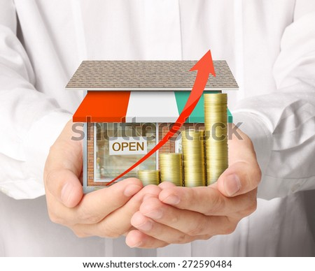 Concept by money shop from coins  - stock photo