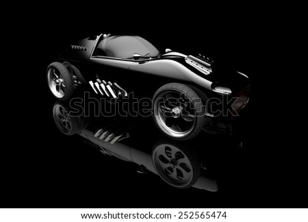 Concept car on black background - stock photo