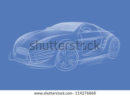 Concept car sketch. Original car design. - stock photo