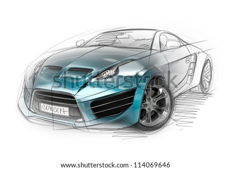 Concept Car Sketch. Original Non Branded Car Design.